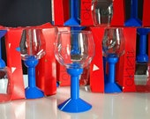 Bodum Oktett Red Wine Glasses - Vintage Bodum Memphis Style Glass and Blue Plastic Wine Glasses - 1980s Bodum Wine Glasses - 9 Available