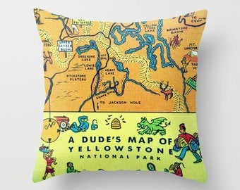 Yellowstone National Park Map Pillow Cover, Outdoors Gift, Vintage Camper Gift Travel Gift Pillow Yellowstone Pillow Vintage Camper Gift