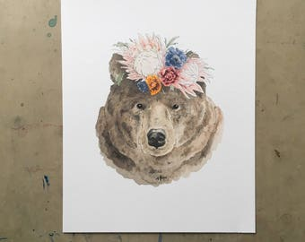 Bear with Flower Crown Watercolour Print