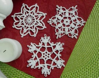 3 Crochet snowflakes Winter decor Lace snowflakes set of 3 Handmade ornaments Christmas decorations S3 D C