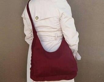 ON SALE Handmade Crossbody Shoulder Bag in Dark Red Velvet - everyday sling purse for her - casual handbag - Marion