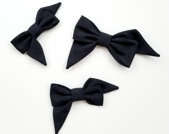 Black Mae Bow Headband or Clip