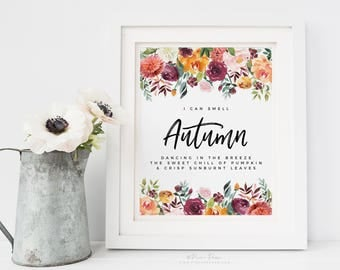 Fall Quote Watercolor Floral Decor, Autumn Flower Art Print Poem 8x10 inch Wall Art, UNFRAMED