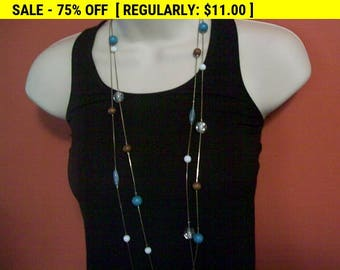 SALE 50% Off Beaded chain necklace, vintage bead and chain necklace, hippie