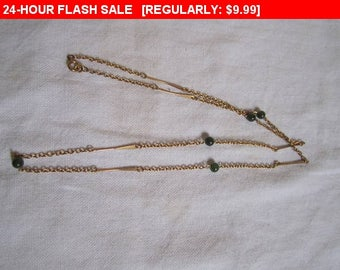 Green beaded chain necklace, hippie, boho