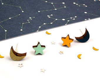 Moon Earrings - Star Earrings - Wooden Studs - Moon and Star Jewellery - Love You To The Moon And Back Jewellery - Gift Idea - Crescent Moon