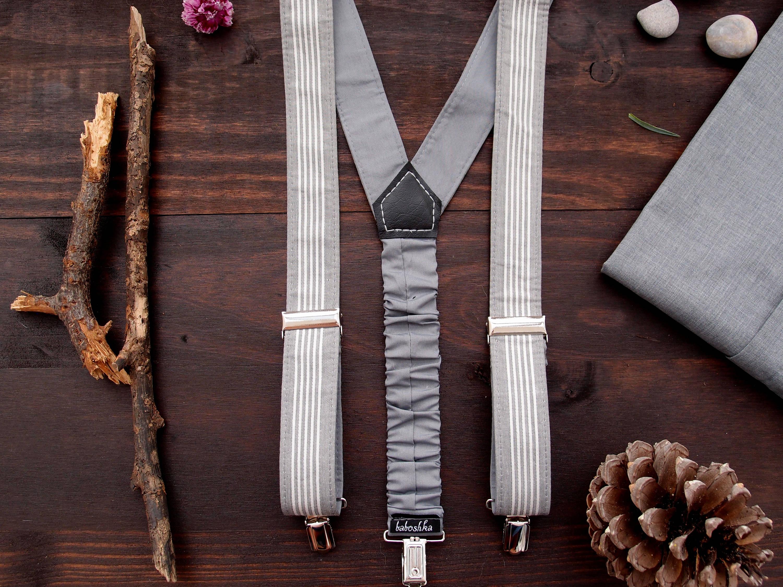 Party Suspenders, Wedding Men Accessories, Gray Striped