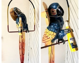 RARE Corona McCaw Parrot Advertisement Vintage Hanging Bird Mexican Paper Mache Parrot Sculpture Kitch Sculpture Large Bar Ad Man Cave