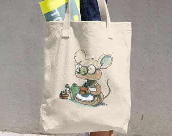 Gardening Mouse Cotton Tote Bag