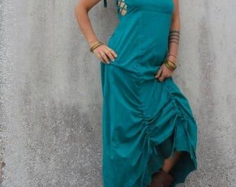 Steampunk clothing ~ Maxi dress ~ Nuno felt edge ~ Corset back ~ Full length dress ~ Elfnfelt