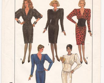FF 1980s Simplicity 8342 Slim Skirt Midriff Gathered Dress Vintage Sewing Pattern, V Neck or Jewel Neckline, Size 8, Bust 31.5, UNCUT