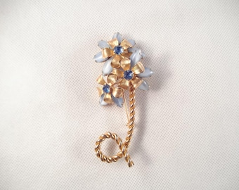 Weiss Flower Brooch, Blue Rhinestones, Blue Opaque Navettes,  Gold Tone Metal
