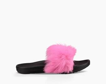 Custom Crystal UGG Australia Royale Hot Pink Fuchsia Black Toscana Fur Slide Slippers w/ Swarovski Rhinestone Jewel Flip Flop Slip On Shoe