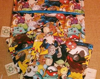 set of 3 RARE, you pick , 2 reusable snack bags, 1 sandwich bag, pokemon go, reusable goods, eco friendly, snack bags, sandwich bag, pokemon