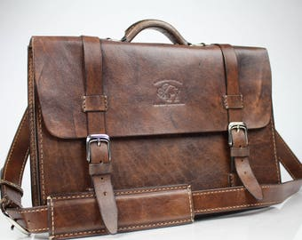 "Leather Messenger Bag,  Leather Briefcase, Leather shoulder bag, Macbook Pro, 15"" - 144"