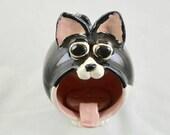 Black and White Tuxedo Cat Handmade Ceramic Soap or Sponge Holder,  Stoneware Pottery, Kitchen Bath Decor, Cat Decor, Pottery Soap Holder
