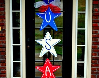 Patriotic Stars Wreath | Summer Door Hanger - Summer Wreath - Patriotic Wreath- 4th of July Decor | Patriotic Centerpiece | Independence Day
