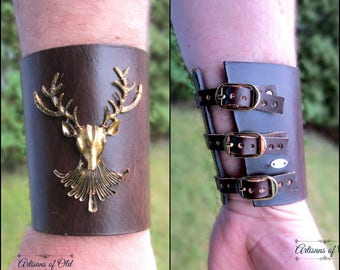 Stag Leather Bracer, Stag Cuff, Cernnunos, Leather Bracelet, Ren Fair, Black Leather Cuff, Pagan Ritual, Burning Man