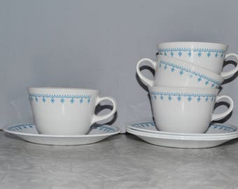 Corelle Snowflake Garland Tea Cup Set of 4 ~ White and Blue Tea Cups ~ Vintage Tea Cups
