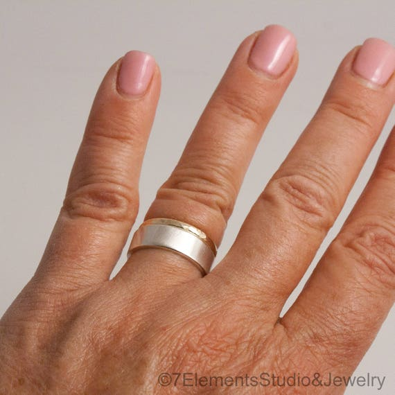 Wide Satin Silver and Hammered Gold Ring Set