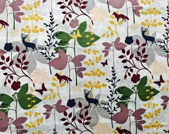 FABRIC-Fall Woodland Floral by the Yard-Quilt Fabric-Apparel Fabric-Home Decor Fabric-Fat Quarter-Craft Fabric-Fat Quarters