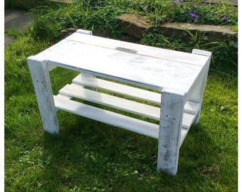 Rustic Handcrafted Reclaimed Solid Wood Shelves Bench Country