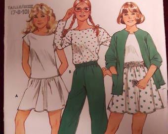 Butterick 4939, Girl's Jacket, Top, Skirt, and Pants
