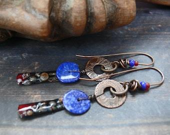 Sarcophagus -  OOAK lapis lazuli, enamelled tin, copper long egyptian style earrings.
