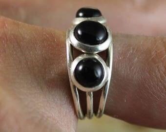 """3rd eye"" ring 925 sterling silver black onyx"
