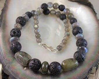 Silver necklace, natural lava and labradorite stones