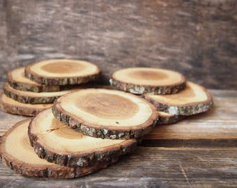 10 Wedding Wooden Oak Coasters, Rustic Coasters, Drink Coasters, Table Decoration, Wood Slices, Home decor
