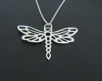 Dragonfly Necklace, Sterling Silver Necklace, Animal Necklace, Animal Jewelry, Pendant Necklace, Jewelry, Gift for her