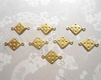 8 Brass 15mm Dice Connectors Charms