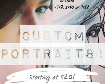 Custom Portraits - stylized pen and ink or color portraits- made to order!