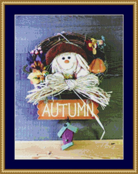 Autumn Decoration Cross Stitch Pattern /Digital PDF Files /Instant downloadable