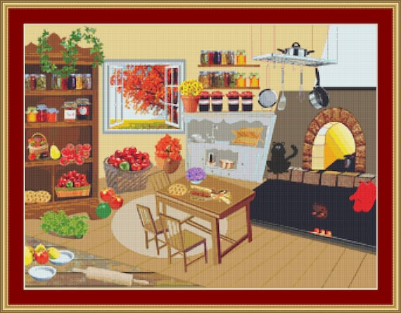 Cat In The Kitchen Cross Stitch Pattern /Digital PDF Files /Instant downloadable