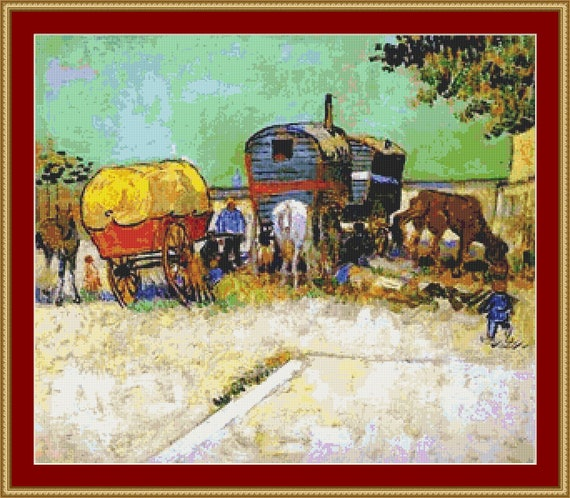 Gypsy Camp Near Arles Cross Stitch Pattern /Digital PDF Files /Instant downloadable