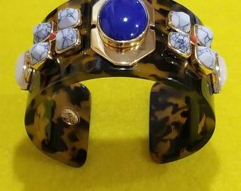 Tortoise and stone cuff bracelet, by J CREW.