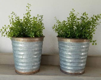 Galvanized Metal Vase with faux plant Metal Planter Farmhouse
