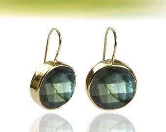 SUMMER SALE - Labradorite earrings,gold earrings,round earrings,bezel earrings,gemstone earrings,bridal earrings