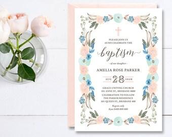 Printable Christening Invitation \ Baptism Invitation \ Girl Invitation \ Pink, Aqua and Blue Floral Watercolour Invitation (CR76)