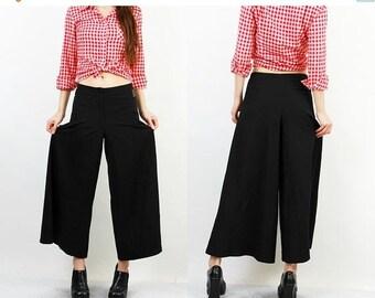 SALE Vintage Black Pants / Black Flared Pants / Black Flared Capris / 90s Flared Pants / Black Loose Pants / Samurai Pants / High Waisted Pa