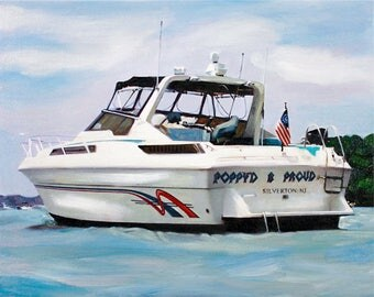 Boat Yacht Painting Portrait Custom Fine Art Oil Painting from Photo