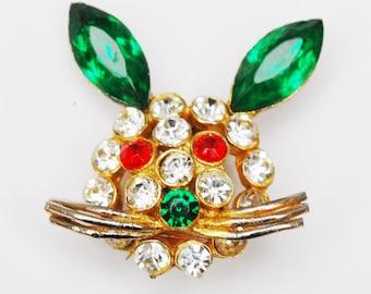 Rhinestone Rabbit face Brooch - Clear Redand Green crystal - Gold plated metal - Figurine pin