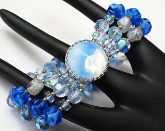 Hattie Carnegie Bracelet - Bead Blue Clear Crystal -Triple strand - Blue Givre Rhinestone Clasp