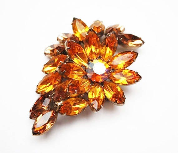 Rhinestone Brooch- Brown orange Crystal - Flower -   Floral Pin