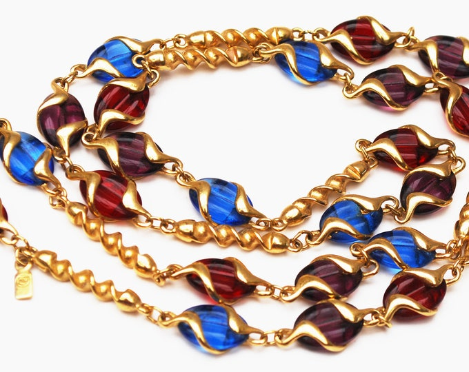 Swarovrski - Colorful Crystal Link Necklace - Twisted gold links - Purple Red and Blue crystal - Swan signed - 32 inches