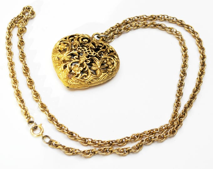 Vintage heart perfume Locket Pendant - open work repousse Gold - victorian Revival - Necklace