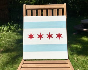 "16""x16"" City of Chicago Flag Wood Sign"