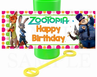 Zootopia inspired Birthday Party Printable Party Bubble Labels- Non Personalized DIY File